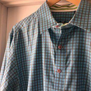 Robert Graham Blue Cotton Button Front Shirt